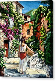Girl With Basket On A Greek Island Acrylic Print