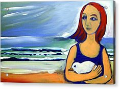Acrylic Print featuring the painting Girl With Bird by Winsome Gunning