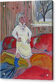 Girl With Blue Sock And Red Toe Nails Acrylic Print by Betty Pieper