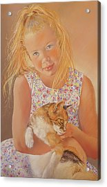 Girl With Cat Acrylic Print