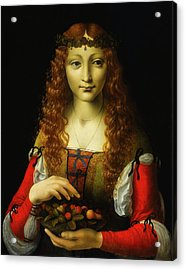 Acrylic Print featuring the painting Girl With Cherries by Giovanni De Predis