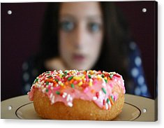 Girl With Doughnut Acrylic Print by Linda Woods