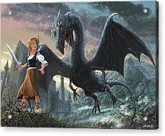 Girl With Dragon Fantasy Acrylic Print by Martin Davey