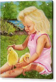 Girl With Ducks Acrylic Print by Joni McPherson