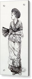 Girl With Fan Acrylic Print