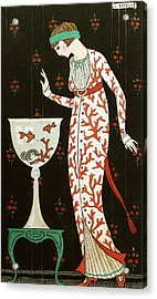 Girl With Fish Bowl Acrylic Print by Georges Barbier