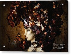 Girl With Flower Hat Acrylic Print