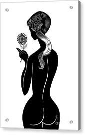 Girl With Flower Acrylic Print