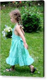 Girl With Flowers Acrylic Print by Diane Merkle