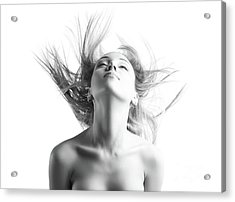 Girl With Flying Blond Hair Acrylic Print by Olena Zaskochenko