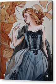 Girl With Golden Leaves Acrylic Print by Jacque Hudson