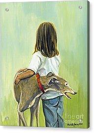 Girl With Greyhound Acrylic Print