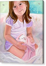 Girl With Guinea Pig Acrylic Print