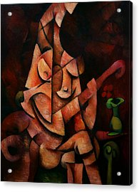 Acrylic Print featuring the painting Girl With Guitar by Kim Gauge