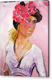 Girl With Hat Acrylic Print