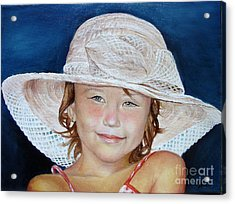 Girl With Hat Acrylic Print