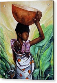 Girl With Her Doll Acrylic Print by Marcella Muhammad