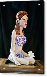 Girl With Lotus 3 Acrylic Print by Yelena Rubin