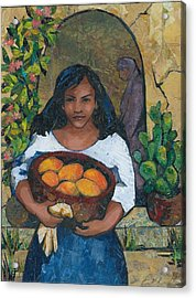Girl With Mangoes Acrylic Print by Barbara Nye