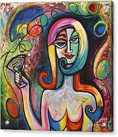 Acrylic Print featuring the painting Girl With Martini Cocktail Abstract by Genevieve Esson