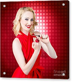 Girl With Nail File. Shaping Nails For Manicure Acrylic Print