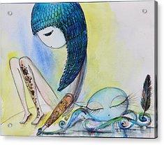 Girl With Octopus  Acrylic Print