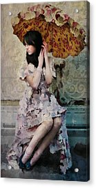 Girl With Parasol Acrylic Print