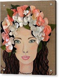 Girl With Peach Flowers Acrylic Print by Katy Auna