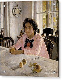 Girl With Peaches Acrylic Print by Celestial Images