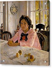 Girl With Peaches. Portrait Of V.s. Mamontova Acrylic Print by Valentin Alexandrovich Serov