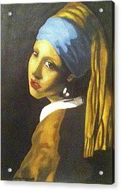 Acrylic Print featuring the painting Girl With Pearl Earring by Jayvon Thomas