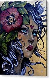 Girl With Poppy Flower Acrylic Print