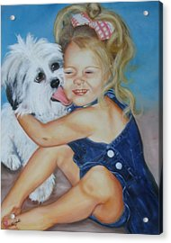 Girl With Puppy Acrylic Print