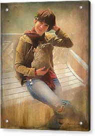 Acrylic Print featuring the photograph Girl With Rabbit by Bellesouth Studio