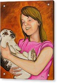 Girl With Rabbit Acrylic Print by John Stevens