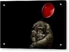 Girl With Red Balloon Acrylic Print by Paul Neville