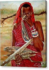 Girl With Sticks Acrylic Print by G Cuffia