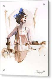 Girl With The Blue Ribbon Acrylic Print