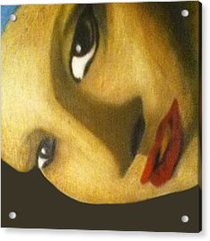Acrylic Print featuring the painting Girl With The Pearl Earring Close Up by Jayvon Thomas