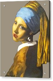 Acrylic Print featuring the painting Girl With The Pearl Earring No Background by Jayvon Thomas
