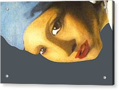 Acrylic Print featuring the painting Girl With The Pearl Earring Side by Jayvon Thomas