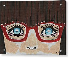 Acrylic Print featuring the painting Girl With The Red Glasses by Kathleen Sartoris