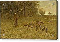 Girl With Turkeys Acrylic Print by George Fuller