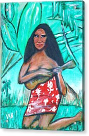 Girl With Ukulele Acrylic Print