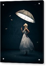 Girl With Umbrella And Falling Feathers Acrylic Print by Johan Swanepoel