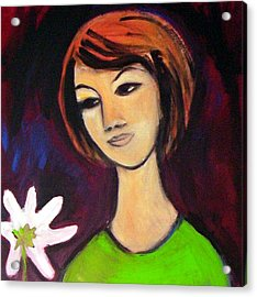 Acrylic Print featuring the painting Girl With White Flower by Winsome Gunning