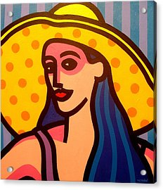 Girl With Yellow Hat Acrylic Print by John  Nolan