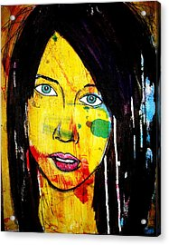 Acrylic Print featuring the painting Girl9 by Josean Rivera