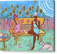 Acrylic Print featuring the painting Girlfriends' Teatime IIi by Xueling Zou