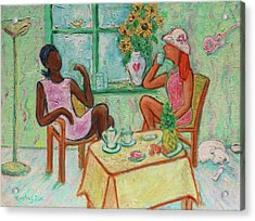 Acrylic Print featuring the painting Girlfriends' Teatime V by Xueling Zou